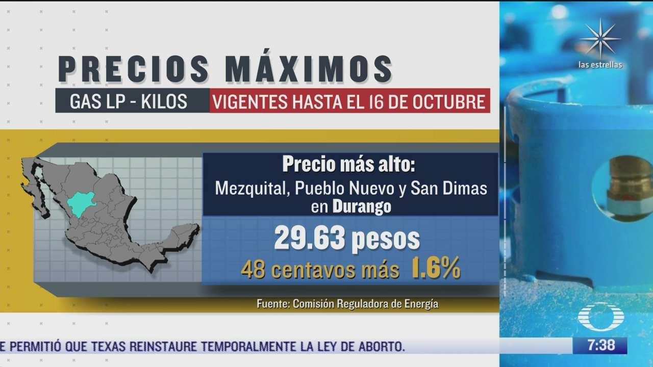 cuales son los precios del gas lp vigentes hasta el 16 de octubre de