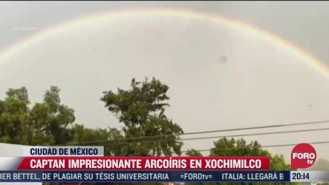 enorme arcoiris adorna el cielo de xochimilco tras intensa lluvia