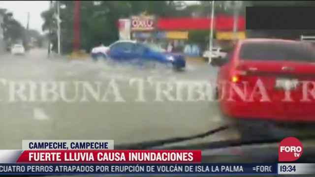 fuerte lluvia causa inundaciones en campeche