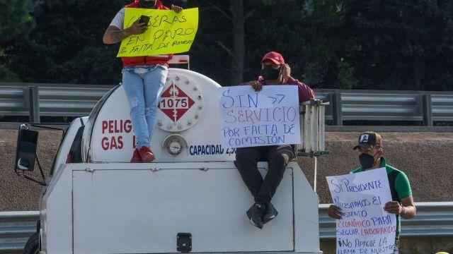 Integrantes del Gremio Nacional de Gaseros bloquearon distintos puntos en el Valle de México (Cuartoscuro)