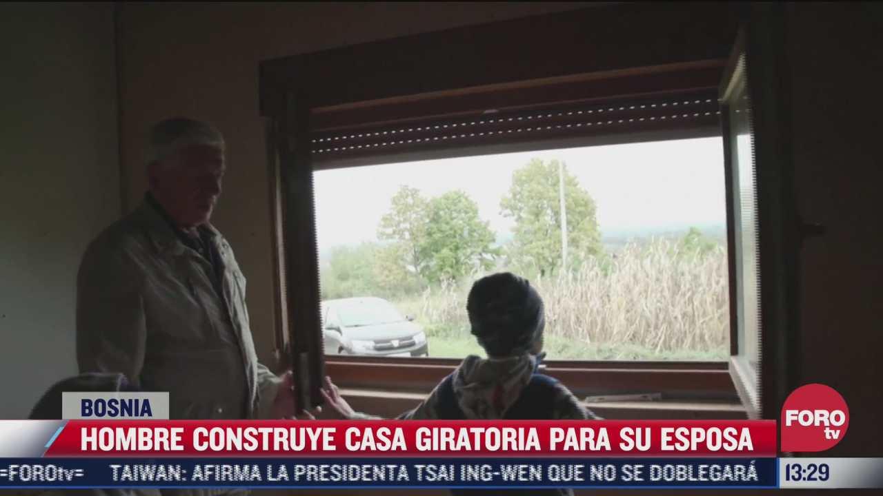 hombre construye casa giratoria para su esposa en bosnia