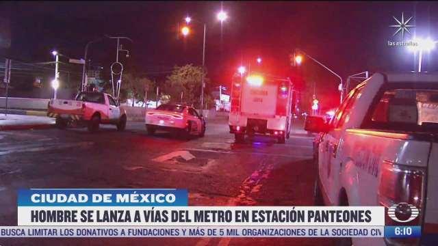 hombre se lanza a vias de la estacion panteones del metro cdmx