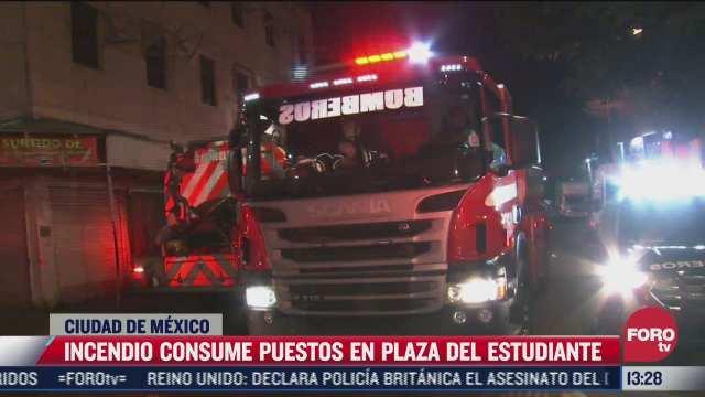 incendio consume puestos en plaza del estudiante de cdmx
