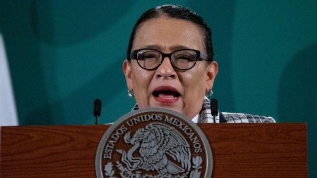 Rosa Icela Rodríguez en la conferencia matutina donde presentó el informe mensual de seguridad.