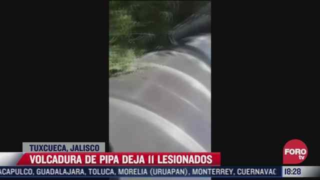 volcadura de pipa deja 11 lesionados en tuxcueca jalisco