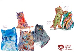 ilustración gatos peluditos 2 con logo AACC