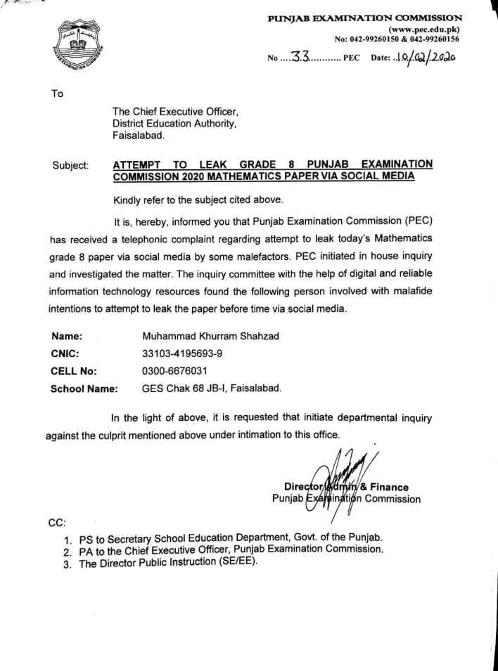 Suspension due to leak pec 8th paper 2020