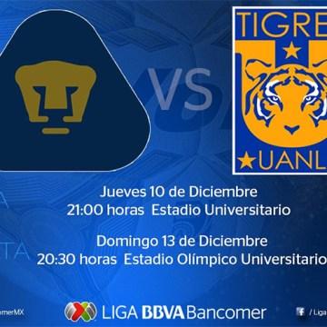 Pumas y Tigres disputarán la final de la Liga MX jueves y domingo