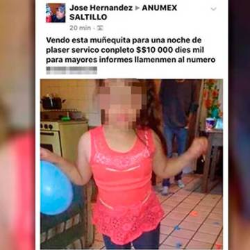 Aseguran a niña que era ofrecida en Facebook por 10 mil pesos la noche