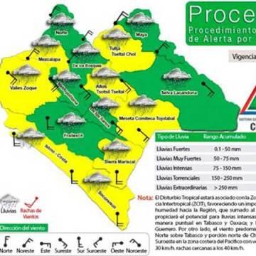 Se activa la alerta amarilla por lluvias intensas en Chiapas