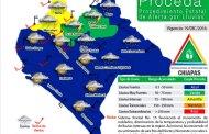 Alerta Amarilla para las regiones Norte y Mezcalapa de Chiapas