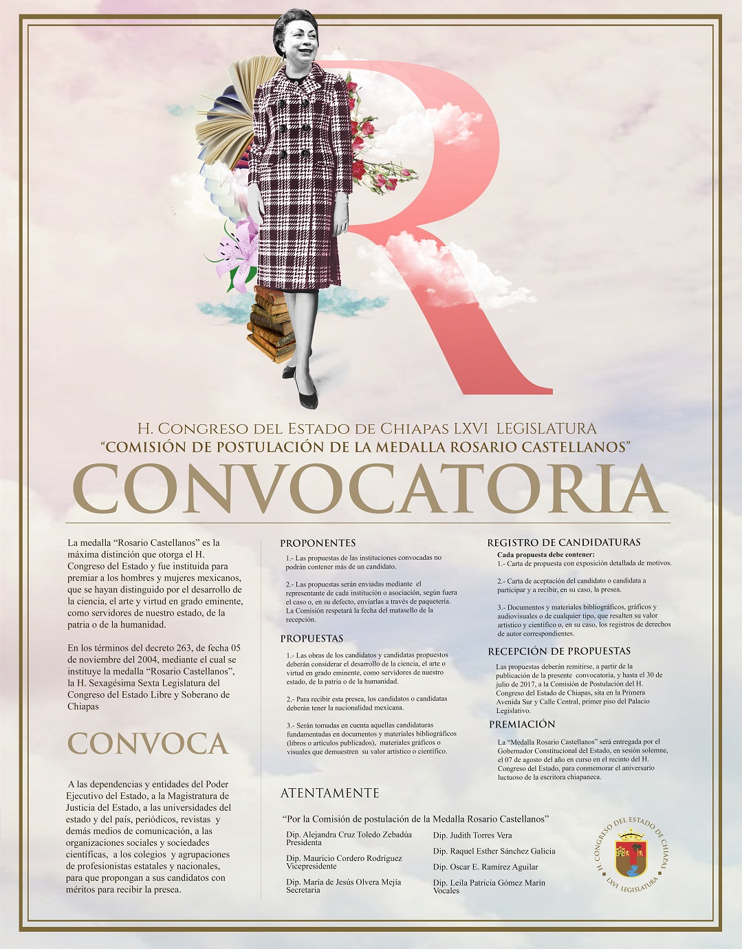 """Convocan a la postulación de candidatos para recibir la Medalla """"Rosario Castellanos"""""""
