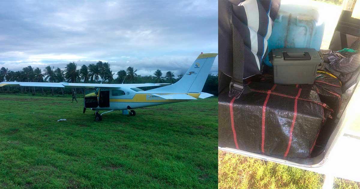 Aseguran avioneta con 95 kilos de cocaína en Mapastepec