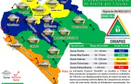 Activan Protección Civil Alerta naranja por lluvias en Costa y Soconusco