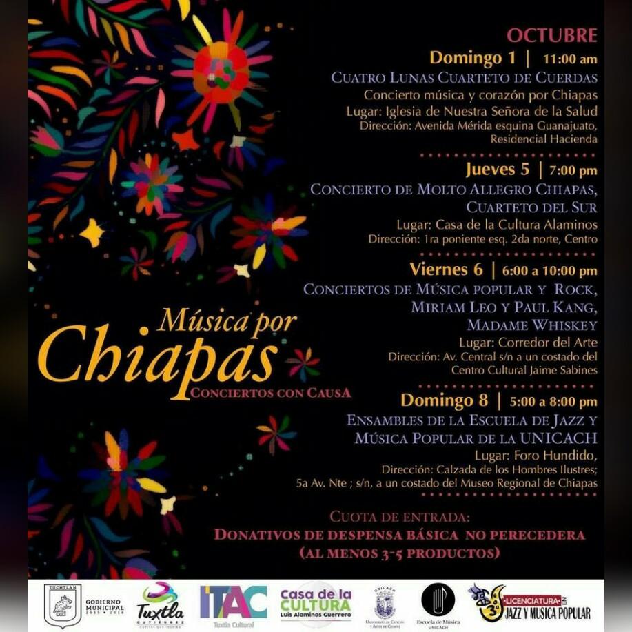 """Invita Ayuntamiento a disfrutar de """"Música por Chiapas: Conciertos con Causa"""""""
