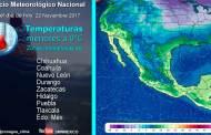 Se prevé un marcado descenso de la temperatura en entidades del norte, el noreste, el oriente y el centro de México