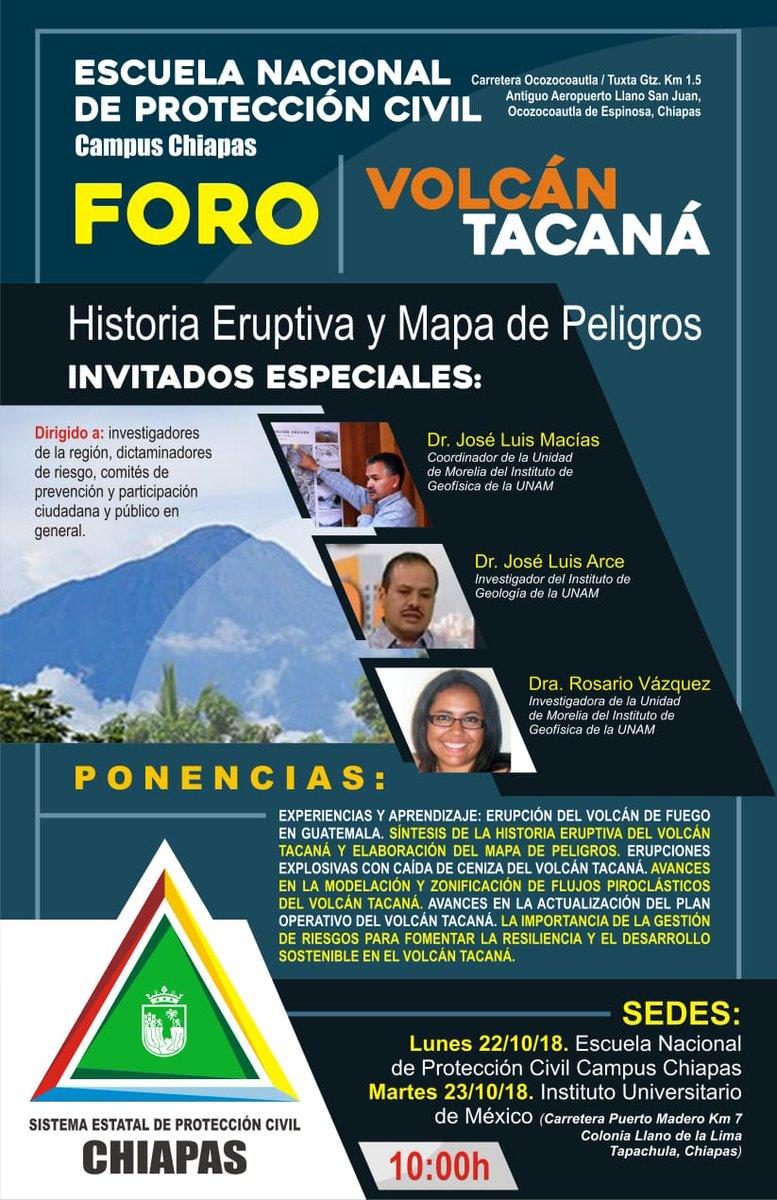 """Foro """"Historia Eruptiva y Mapa de Peligros del Volcán Tacaná"""""""