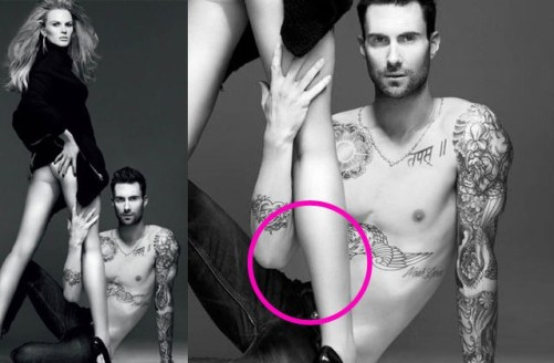 Adam had part of his torso removed on this photoshoot for Vogue (http://jezebel.com/5849762/adam-levine-loses-a-chunk-of-torso-in-tragic-photoshop-accident)
