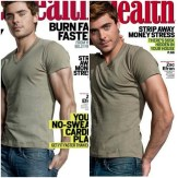 Zac Efron's arm looks like it was mauled by an animal on this cover of Men's Health, which they later updated to the version on the right