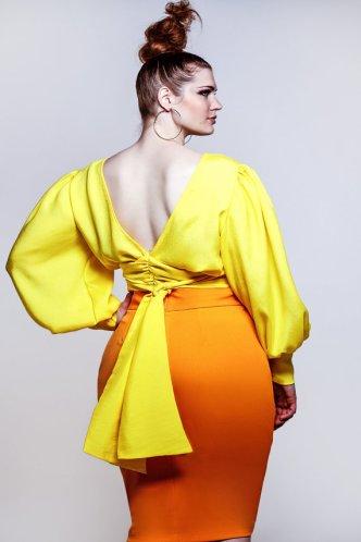 JIBRI Plus Size Yellow Rae Crop Blouse
