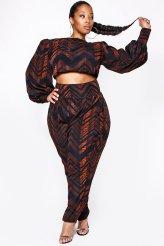 JIBRI Plus Size Tribal Rae Crop Blouse and High Waist Mini Slouch Pant (Tribal)