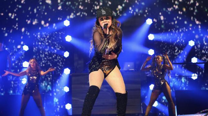 MIAMI, FL - NOVEMBER 07: Recording artist Becky G performs onstage at iHeartRadio Fiesta Latina presented by Sprint at American Airlines Arena on November 7, 2015 in Miami, Florida. (Photo by Alexander Tamargo/Getty Images for iHeartMedia)