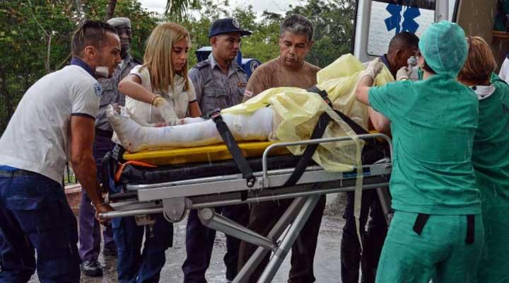 Una de las heridas cuando era trasladada al hospital.