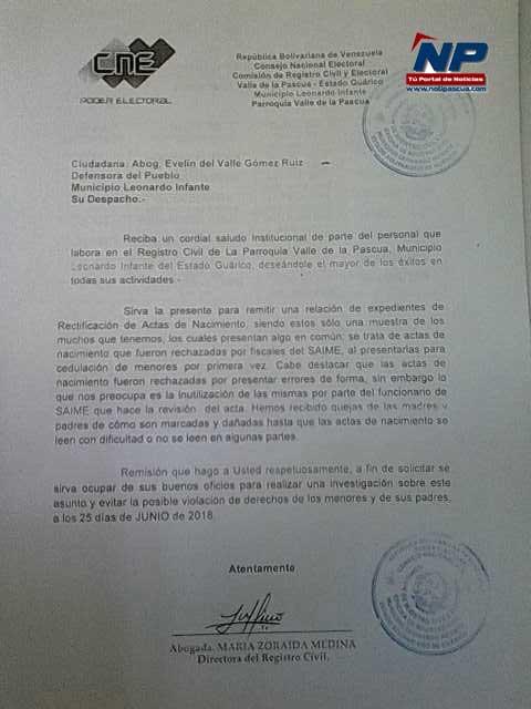 Denuncia interpuesta por la usuario en la Defensoria del Pueblo