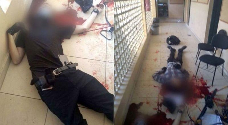 Los dos atacantes quedaron en un pasillo con tiros en la cabeza.