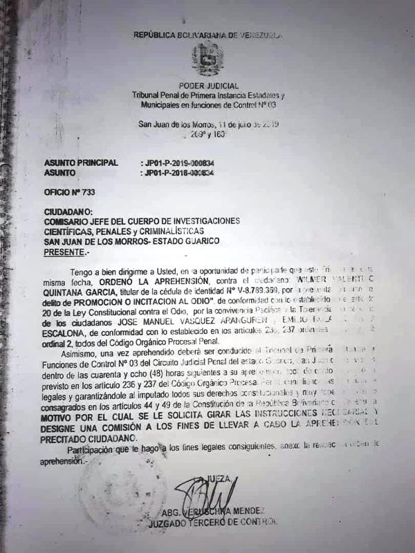 Orden de aprehensión emitida por el tribunal de control.