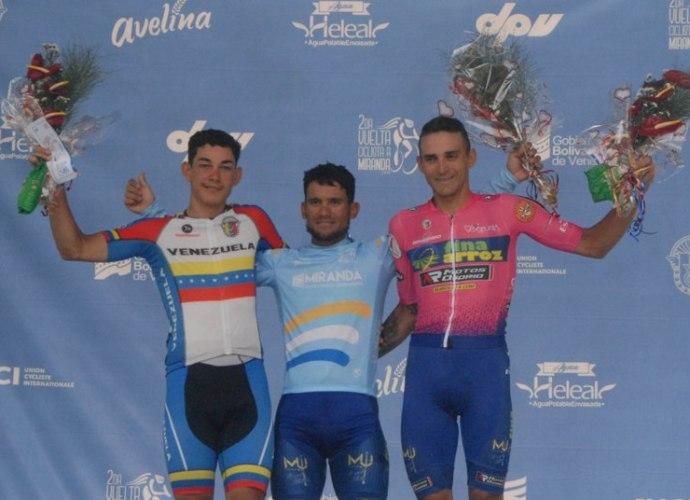 Podio etapa V Xavier Quevedo ganador, Orluis Aular y Ralph Monsalve