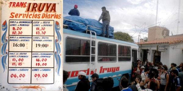 Transporte Iruya. Horarios hacia y desde Iruya.