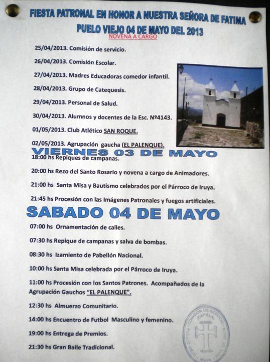 Programa de la Fiesta Patronal de Pueblo Viejo