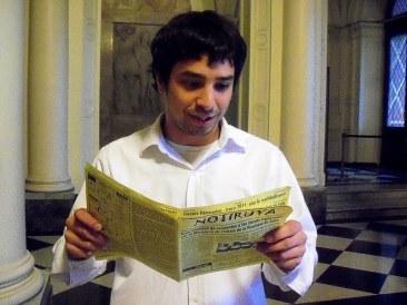 Sebastián, guía en la Casa Rosada, con NOTIRUYA
