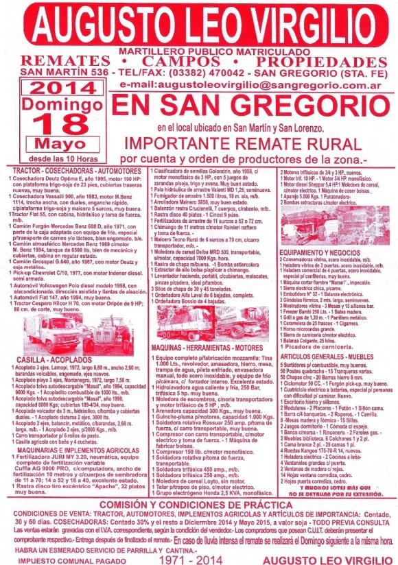 El afiche del remate en San Gregorio
