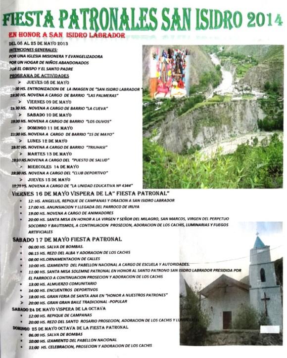 Programa de la Fiesta Patronal de San Isidro (Iruya)