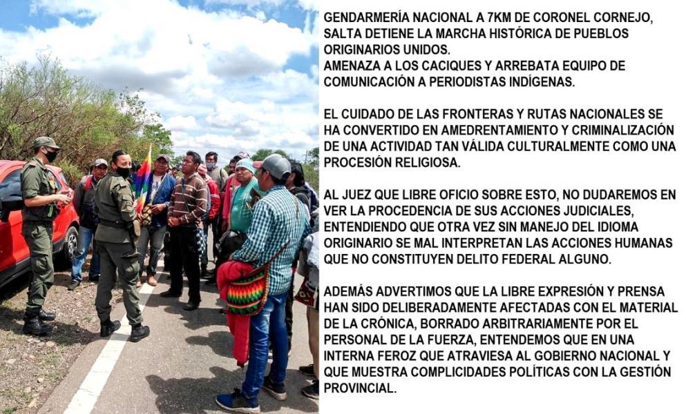 Gendarmería demoró a la marcha de pueblos originarios.