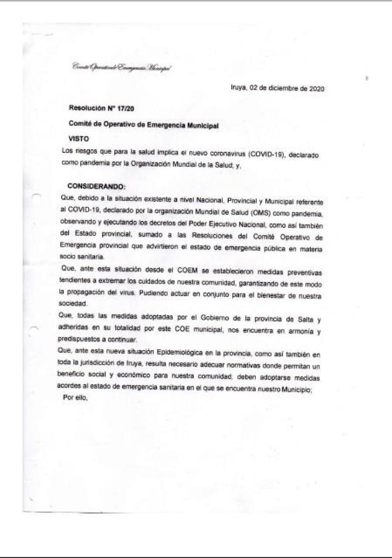 Resolución 17/20 - COEM Iruya, página 1