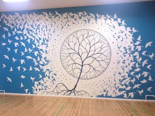 Vægmaleri i gymnastiksal Roskilde