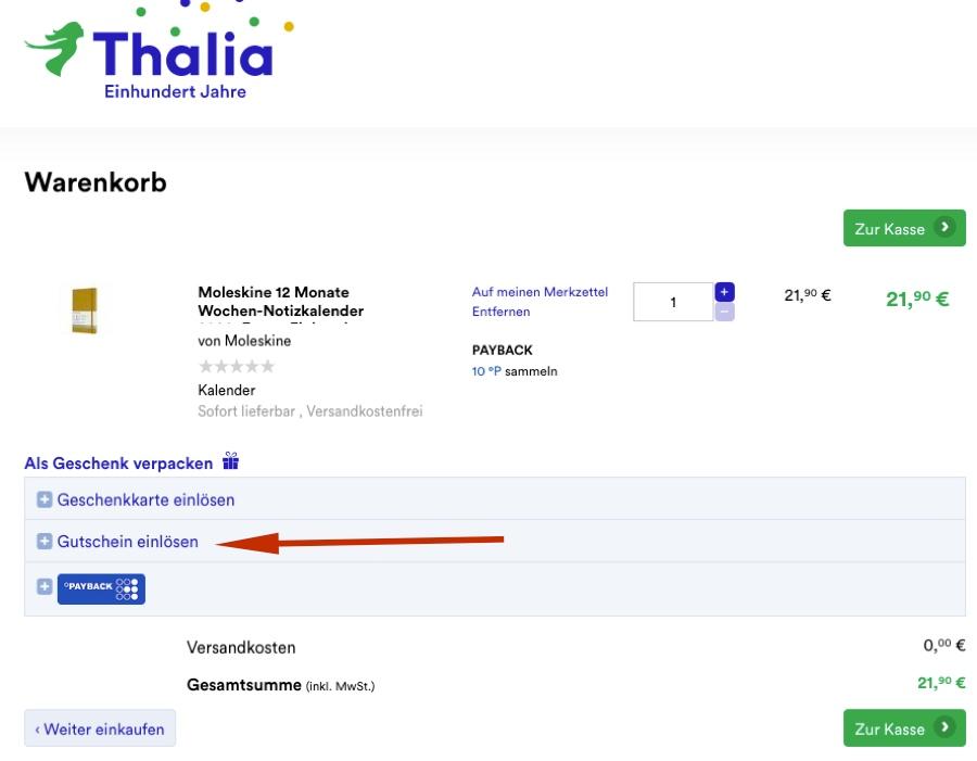 Thalia Neukundenrabatt einlösen