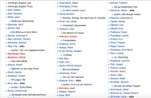 """Schwarze Liste """"Schöne Literatur"""" vom 2. Mai 1933   Screenshot aus Wikipedia """"Liste der verbrannten Bücher 1933   nw2017"""