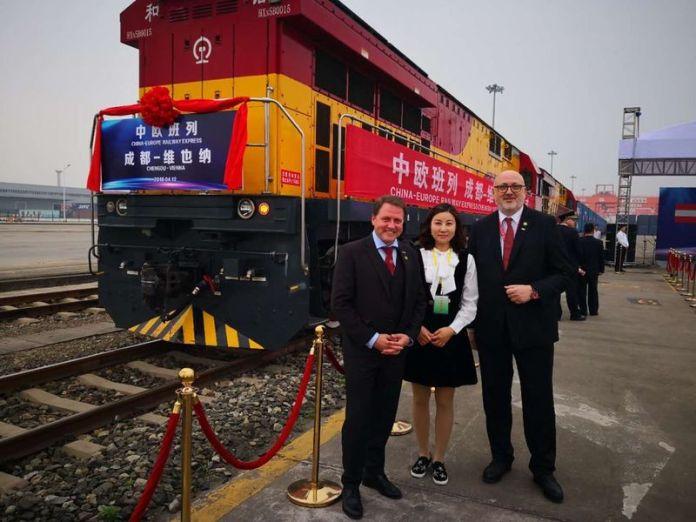 Il primo treno merci che dalla Cina è arrivato a Vienna