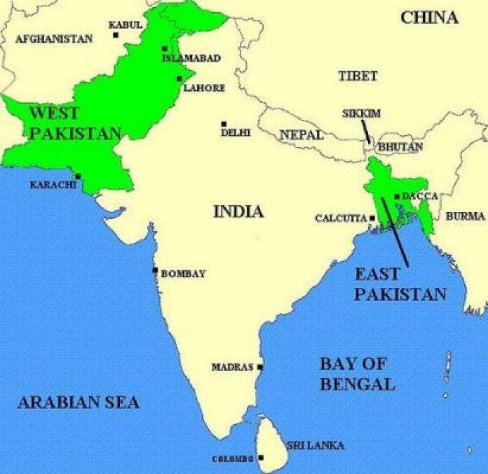 Mappa del Pakistan nel 1947