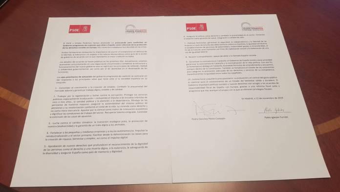 Testo accordo Podemos Psoe