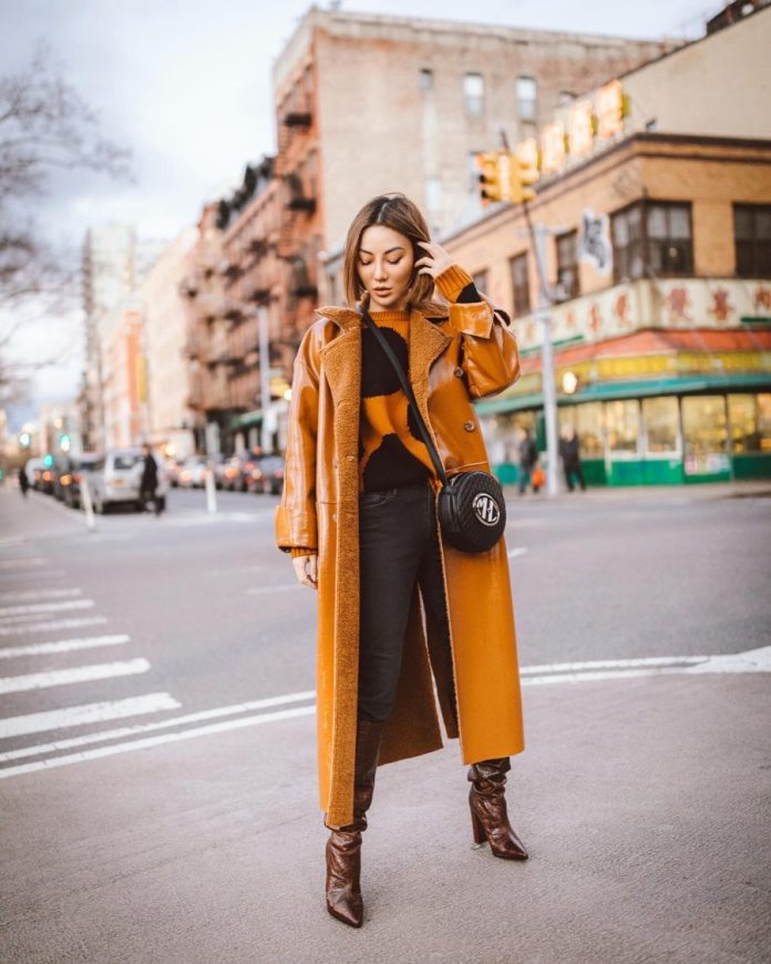 Jessica Wang wearing fall and winter coats featuring a leather trench coat // Jessica Wang - Notjessfashion.com