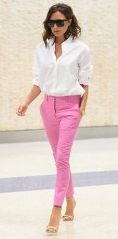 **NO NY PAPERS** *EXCLUSIVE* New York, NY - Victoria Beckham makes a strong fashion statement as she arrives at JFK airport in a pair of pink trousers for New York Fashion Week. *SHOT ON 09/05/16* AKM-GSI September 6, 2016 To License These Photos, Please Contact : Maria Buda (917) 242-1505 mbuda@akmgsi.com sales@akmgsi.com or Mark Satter (317) 691-9592 msatter@akmgsi.com sales@akmgsi.com www.akmgsi.com