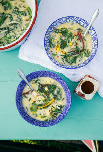 Millet Corn Chowder with Greens
