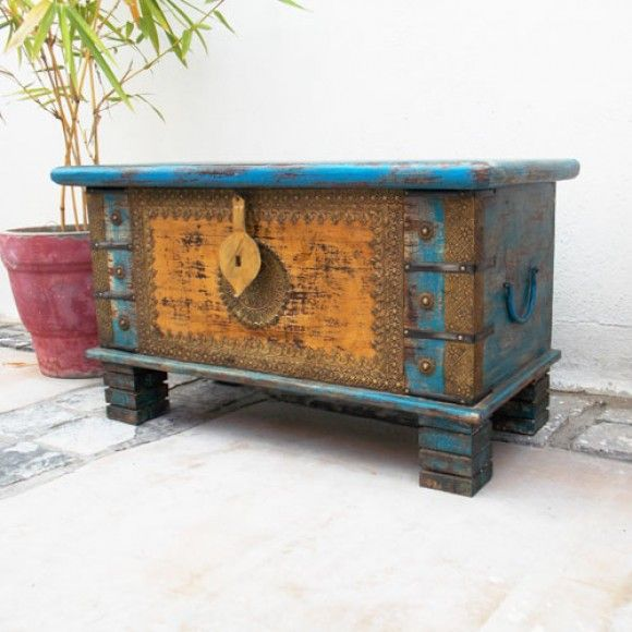Antique Chest in yellow and blue