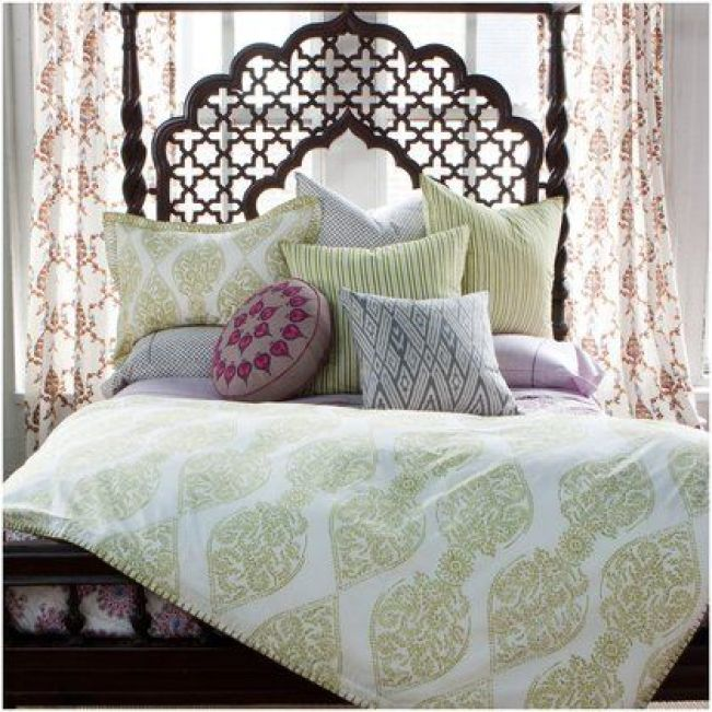 Such a serene bedroom; made perfect with hand block printed bedspread  via