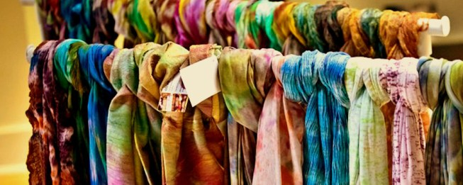 Metres and metres of handwoven scarves and stoles via